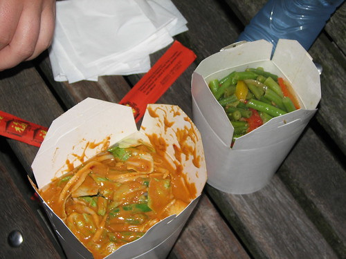 veggies in peanut sauce and green beans in black bean sauce