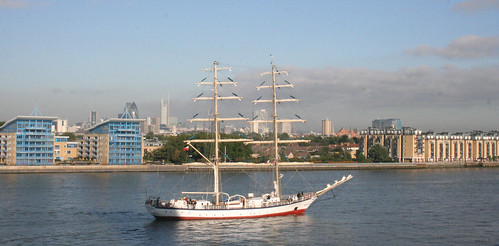 Tall sailing ship visiting London