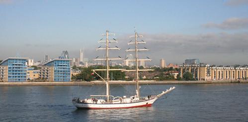 Tall sailing ship visiting London