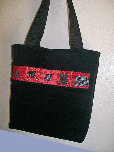 red quilted tote bag