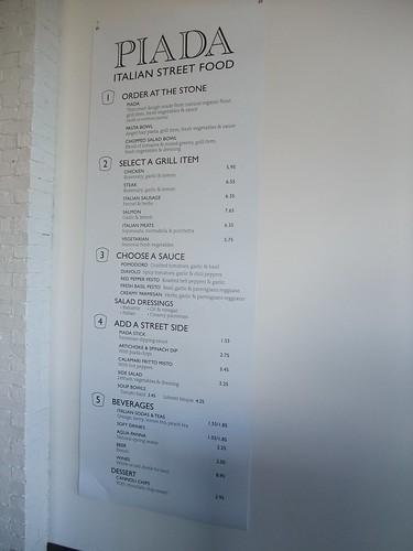 Piada Italian Street Food Menu