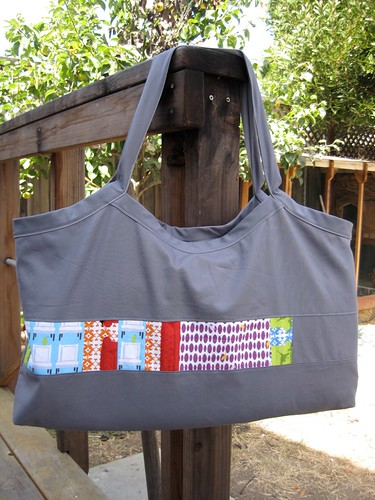 Tufted tweets quilt tote bag