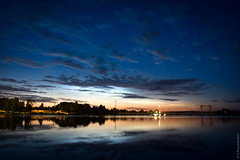 Night in Karelia (thedot_ru) Tags: 2005 travel moon reflection water night clouds stars geotagged canon20d karelia vyborg viborg