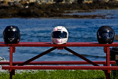Helmets on a Picnic Table (Photo Taker 2000) Tags: canon newfoundland motorcycles 28135mmis rebelt2i