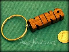 Walnut Keychain (DustyNewt Scott) Tags: wood wooden blog keychain key hand florida handmade name walnut charm ring chain made etsy custom woodworking personalized fob zipperpull toorder dustynewt zibbet