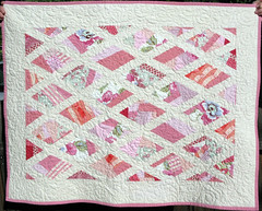 Pink Diamonds Baby Quilt (Peppermint Pinwheels) Tags: pink white quilt handmade cottage style quilting chic etsy shabby peppermintpinwheels