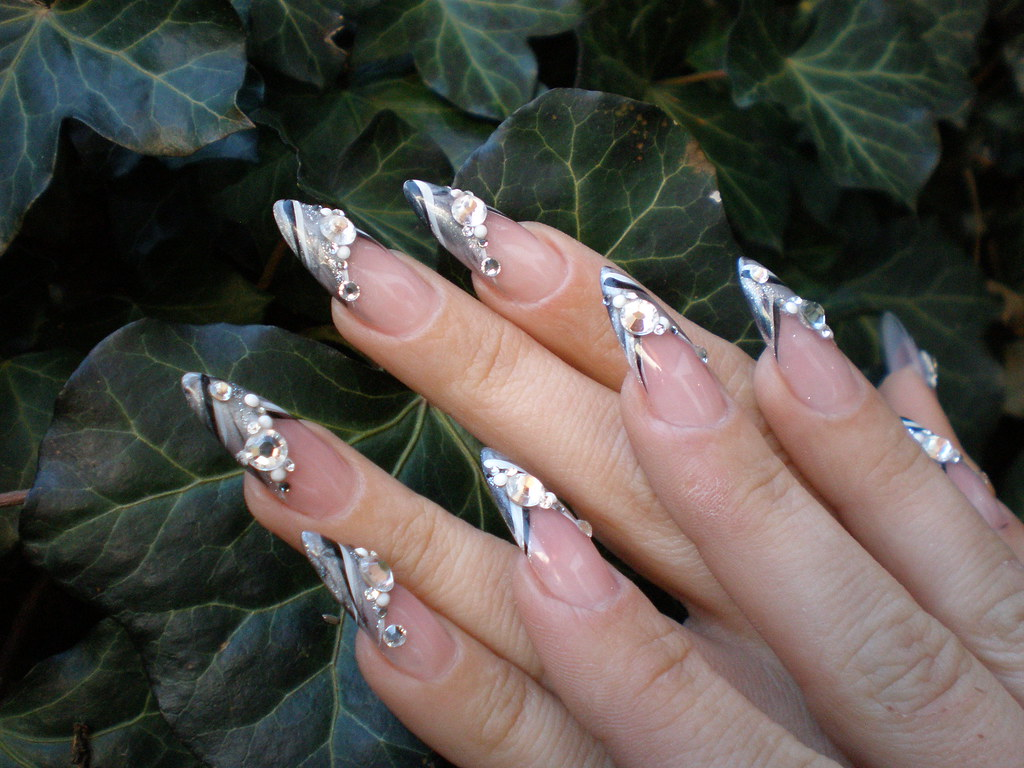 nail art stiletto nail french grey grau schwarz pimpnails tags pink glitter french - French Ngel Muster