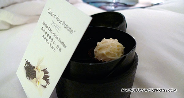 A vanilla chocolate truffle greeted me in the morning, courtesy of Mira Hotel