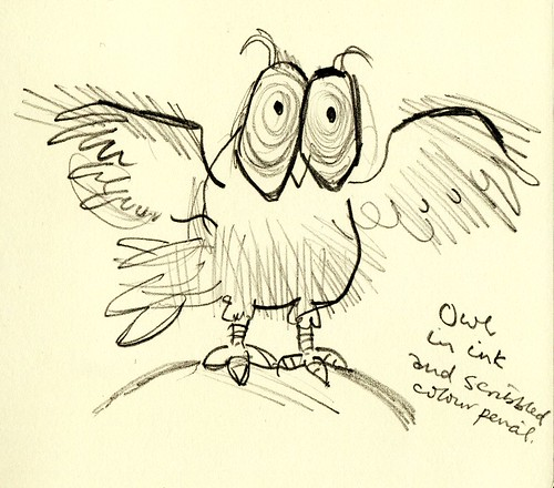 Exhibition sketchbook: Ronald Searle - owl in ink and scribbled colour pencil