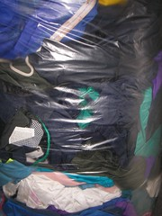 Summer Throwout 2 Picture 5 (muckyclothes) Tags: 2 summer trash bag garbage plastic macs dustbin pvc raincoats throwout cagoules
