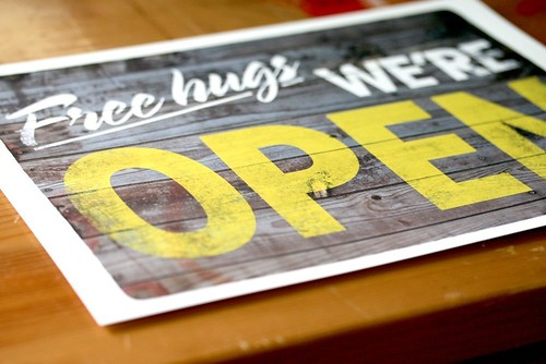 free, hugs, open, print, shop, etsy, yellow, archival print