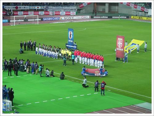 試合前の整列@日本代表 VS セルビア代表_201004