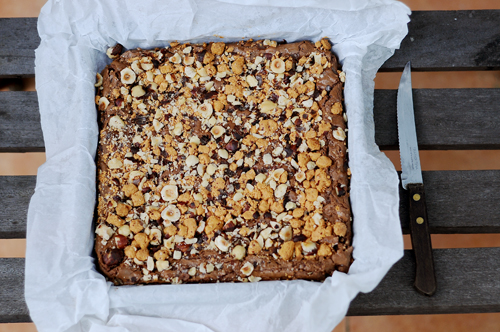 hazelnut and butterscotch chocolate fudge brownies