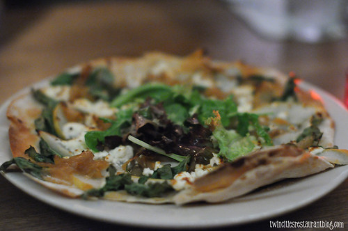 Pear and Goat Cheese Flatbread Pizza at Aster Cafe