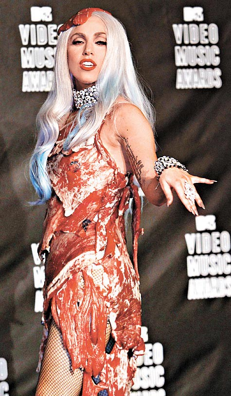 Lady Gaga wearing dress made of meat at MTV music awards/