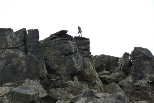 A climber on the Wainstones
