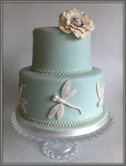 Nicola Anniversary Cake (SmallThingsIced) Tags: flower vintage dragonfly weddingcake ivory pearls anemone bloom sugarpaste duckeggblueanniversarycake