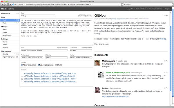 Screenshot of Gitblog admin UI