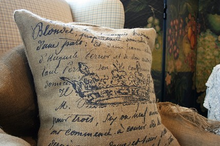 Burlap-French-Document-Crown-Pillow