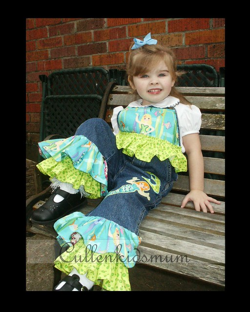 Mermaid appliqued overalls