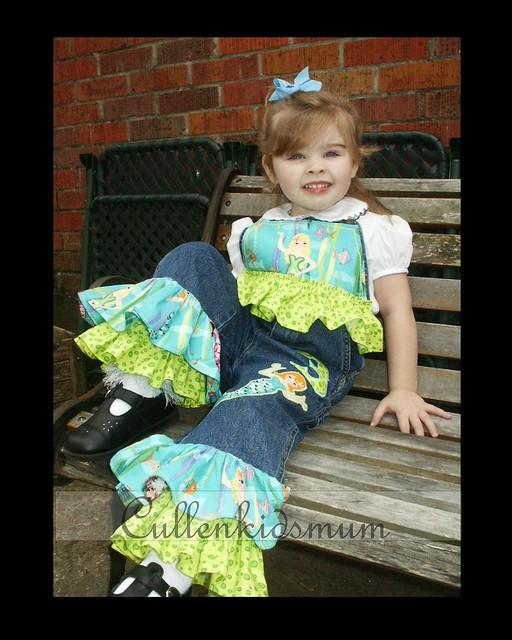 Mermaid appliqued overalls