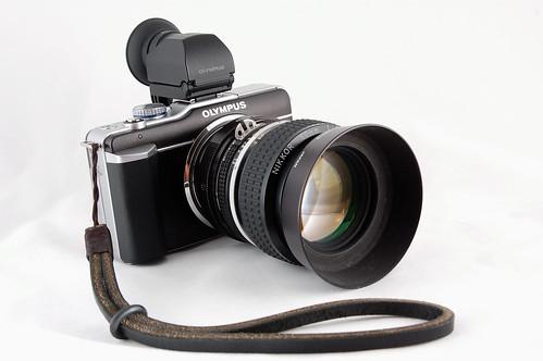 Gordy Strap + Nikkor 50mm f1.2 + EVF w/ Eyecup + E-PL1
