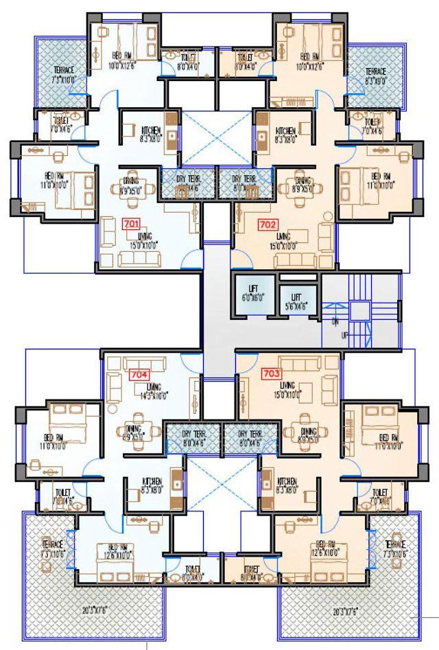 Navjeevan Properties'  Blue Bells, 2 BHK Flats opposite Pu La Deshpande Udyan on Sinhagad Road Floor Plan - 7th floor