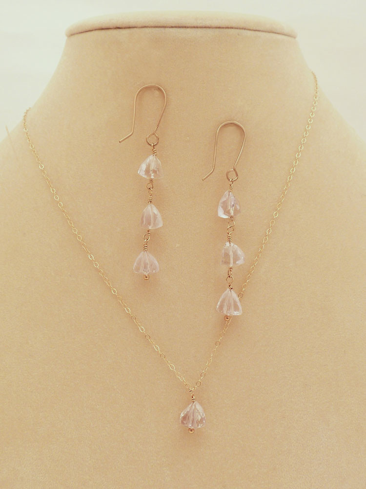 Rose Quartz Pyramid Beads on Gold-Filled Chain Necklace