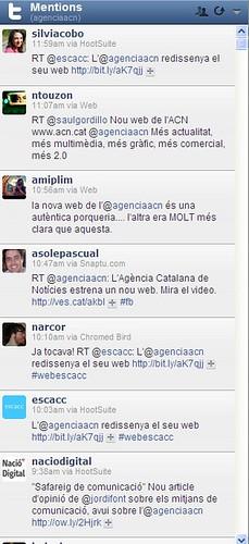 Reacció Twitter nou web ACN