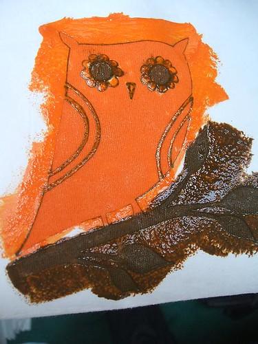 Freezer paper stencilled owl