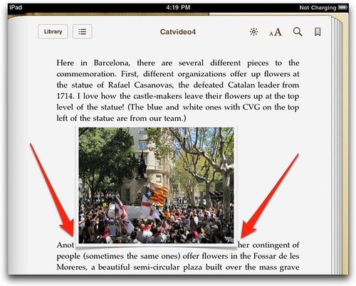 Image within text, in iPad