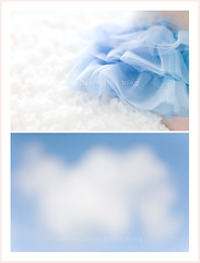 fluffy : cloud (BelliniPortraits) Tags: blue sky cloud baby bed tulle tutu pettiskirt whiteblanket belliniportraits bellinipics