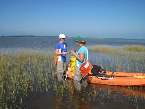 Emily and Robyn getting gear ready to collect porewater samples