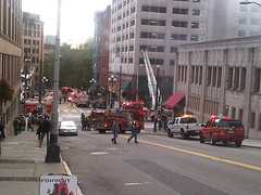 Fire in building - Downtown Seattle (trident2963) Tags: road seattle street 2 6 ford car st truck fire james 1 downtown 10 5 air 4 engine 4th police 9 safety deputy vehicles staff aid third vehicle block ladder emergency fourth medic department 3rd actual response batallion