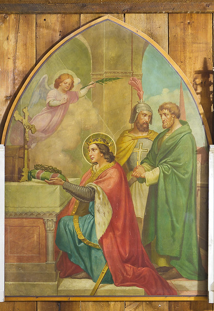 The City Museum, in Saint Louis, Missouri, USA - painting of Saint Louis IX, King of France, with the relic of the crown of thorns, originally from a Saint Louis Church in Massachusetts