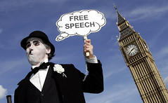 free speech (little tramp) Tags: london art iraq police tonyblair activism arrest freespeech downingstreet charliechaplin civilliberties brianhaw silentprotest notaloud