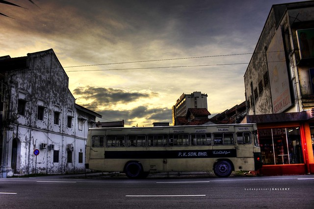 The old bus in the Saturday Morning