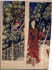 Two fragments of a lost tapestry from the Unicorn Tapestries, South Netherlandish, c. 1495-1505 (m)