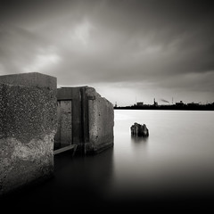 Rouge Remnants: Study II (Jeff Gaydash) Tags: longexposure blackandwhite water square rouge detroit riverrouge lakescapes nd110