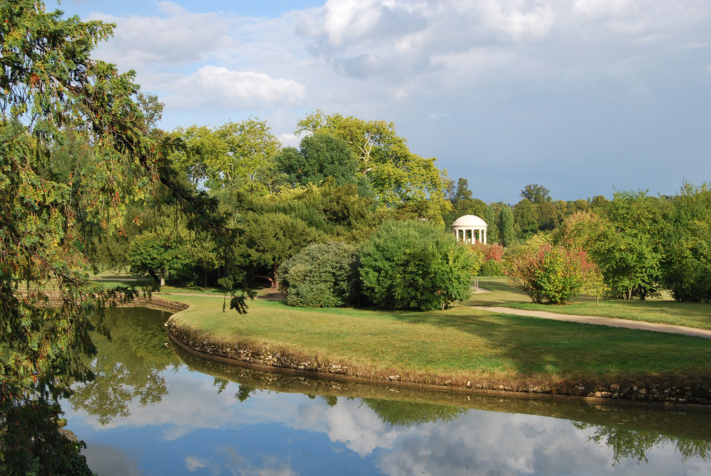 Marie-Antoinette's estate. The English Garden.View from Belvedere.