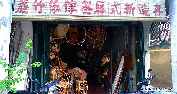 Shop selling traditional rattan crafts