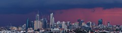 Brisbane Skyline (Jesse4870) Tags: new city bridge pink blue sunset panorama storm skyline skyscraper twilight waterfront place dusk farm south hamilton australia brisbane inner east story valley hour aurora queensland cbd storey thunder albion riparian fortitude newstead
