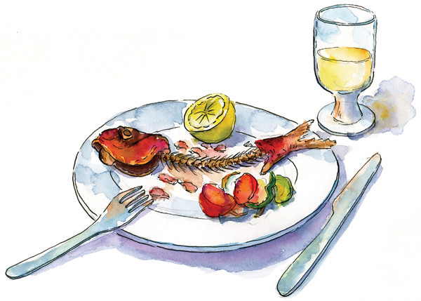 Fish and Wine Dinner, Kifissia (Athens), Greece