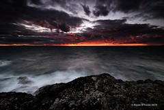 Sinister Skies (Bryan O'Toole) Tags: longexposure sunset ontario canada landscape nikon rocks scenic superior bluffs soo lakesuperior saultstemarie northernontario waterscape algoma groscap singhray nikond80 princetownship rgnd groscapbluffs singhrayrgnd nikkorafs1024mm sinisterskies