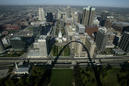 Arial view of St. Louis, MO taken from top of St. Louis Arch