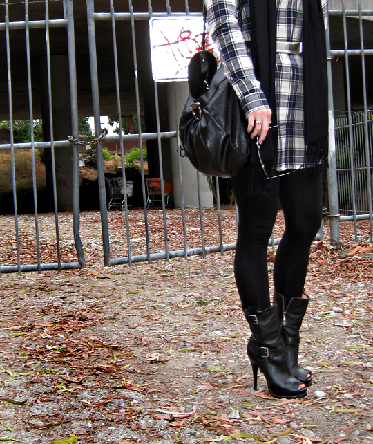 plaid tunic leggings leather boots and bag