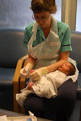British nurse and baby