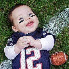 Desmond (antone_b) Tags: new boy england baby field grass sport football infant child jersey 12 patriots brady strobist
