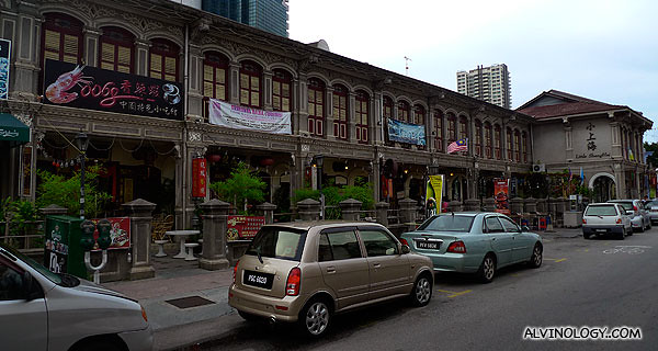 """A row of restaurants, collectively called """"Little Shanghai"""""""