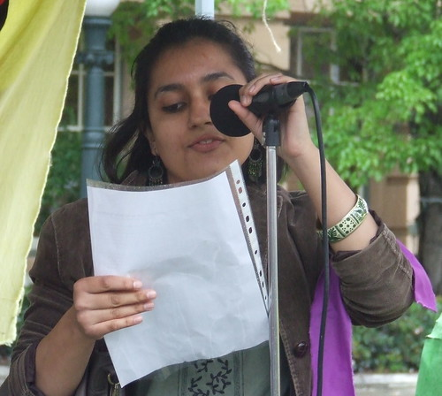 Priya of the Pro-Choice Action Collective speaks at the Pro Choice Rally, Queens Park, George and Elizabeth Sts, Brisbane, Queensland, Australia 101009